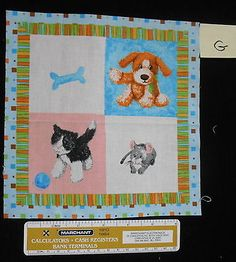 Let's Be Friends Puppy Kitten Mouse Fabric Square