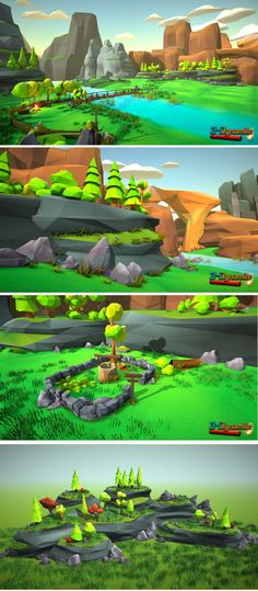 Low Poly Environment Pack for all of you that want to make low poly style environments easily. All models are coloured by vertex color techniques, so no textures and only a few materials are needed. Different environments: Dessert, forest, winter, autumn. Game Environment, Environment Concept Art, Environment Design, Gfx Design, Low Poly Games, Unity Games, Polygon Art, 3d Modelle, Low Poly Models