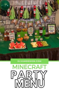 Looking for ideas on what to serve at your Minecraft party? Check out this Ultimate List of Minecraft Party Menu Ideas Minecraft Birthday Party, 5th Birthday, Andes Mint Chocolate, Green Jello, Golden Delicious Apple, Oyster Crackers, Food Tent, Oatmeal Raisin Cookies, Chocolate Covered Pretzels