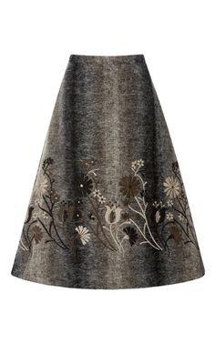 Shop A-Line Midi Skirt. This skirt by **Co** is rendered in a textured a warm mohair construction and floral appliqué to maintain femininity even in colder temperatures. Holiday Skirts, Evening Skirts, Calf Length Skirts, Brown Skirts, Floral Print Skirt, A Line Skirts, Pencil Skirts, Fashion Advice, Women's Fashion Dresses