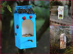 Bird houses milk cartons How To Make Birds House Using Milk Jugs and Cartoons