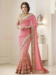 Online saree shopping India at sarees palace. choose from a huge collection of designer, ethnic, casual sari, buy sarees online India for all occasions. Designer Sarees Collection, Lehenga Collection, Latest Designer Sarees, Pink Beige, Orange Pink, Beige Color, Pink Color, Beige Art, Coral Pink