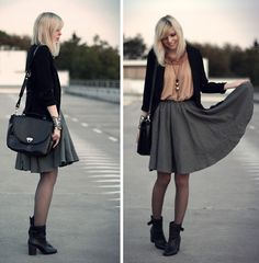 Gina Tricot Blazer, Topshop Top, Sixx Necklace, Selfmade Skirt, Romwe Bag, Akira Boots