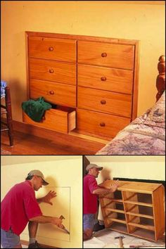 Create more storage without taking up floor space by building a knee wall storage dresser!