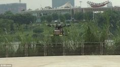 China SF Express Mail delivery drone coming into land