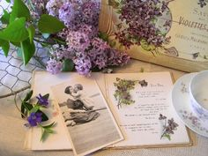 Lilacs and vintage book