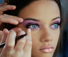 Eye Makeup for Blue Eyes. Purple tones do make them stand out; I would opt for something less dramatic though. Maybe the bottom waterline only