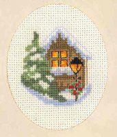 Вышивка Открытка с домиком и фонарем