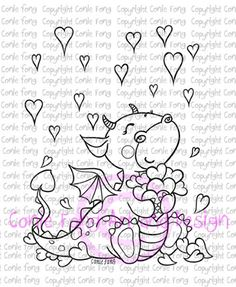 Digital Stamp, Digi Stamp, Tori the Dragon-Raining Hearts by Conie Fong, valentines, love, dragon, coloring page, heart