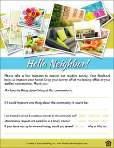 """See how your community is stacking up with the """"Hello Neighbor"""" resident survey. For more awesome multifamily housing freebies check out www.WatchYourBusinessSprout.com.  Resident Retention Toolbox 
