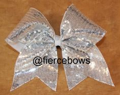 Silver Sparkle Cheer Bow on Etsy, $10.00