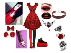 """The Red Rose With The Black Stem"" by fallenangel889 ❤ liked on Polyvore featuring Y.R.U., Vanessa Mooney, Bling Jewelry and West Coast Jewelry"