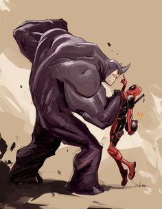 Deadpool VS. Rhino by Crazymic.deviantart.com on @DeviantArt