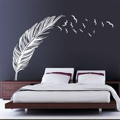 Feather Wall Decal //Price: $ 11.95 & FREE shipping //  #interiordesign #interior #walldecal #wallsticker #wallstickermurah #decor #walldecor #walldecals #homedecor #wallart #design #decor #wallstargraphics