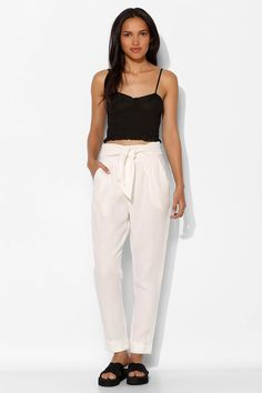 Pins And Needles Tie-Waist Cuffed Linen Pant - Urban Outfitters