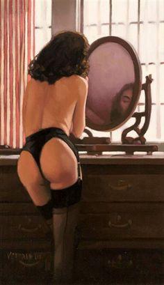 Jack Vettriano - Dressing Mirror  http://www.extramoeniart.it/il-bello-il-brutto-e-il-cattivo/vettriano-la-popstar-snobbata-dai-critici