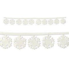 This Fabric Snowflakes Garland is a long string of white snowflakes dangling from an attached string.