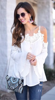 White Lace Open Shoulder Top & Ripped Skinny Jeans