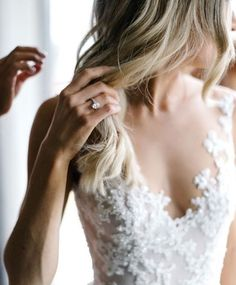 lace applique wedding dress. Dream wedding. Beautiful engagement ring