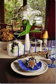 Hanukkah table on Thanksgiving. (Hanukkah and Thanksgiving fall on the same day this year!)