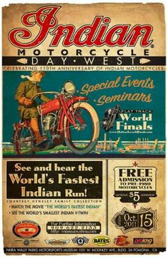 """Vintage Motorcycles 228487381070980405 - Indian Poster – an old look on a new event. It's really too bad the flat tracks can't be full of Indians and Ahrleys again like the days when this poster would have been """"new"""" Source by alexbert Bike Poster, Motorcycle Posters, Motorcycle Art, Classic Motorcycle, Women Motorcycle, Poster Ads, Old Posters, Vintage Posters, Cafe Posters"""