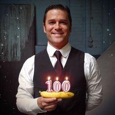 Yannick Bisson celebrating 100 episodes of Murdoch Mysteries
