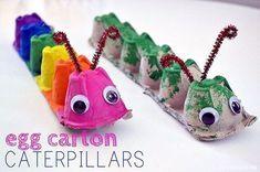Egg Carton Caterpillar – Balancing Home – Basteln Kinder – Home crafts Kids Crafts, Craft Projects For Kids, Toddler Crafts, Preschool Crafts, Diy For Kids, Craft Ideas, Craft Work, Crafts For Preschoolers, Art Projects