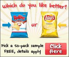 Free Food Sample of Ruffles or Lay's Potato Chips http://freesamples.us/free-food-sample-of-ruffles-or-lays-potato-chips/