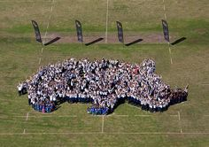 "Rhino kids - 600 school kids from Port Alfred High School, South Africa ""made up"" this Rhino - all chanted ""Save Our Rhino"" and were photographed from a helicopter!  Photo by Jo Wilmot"