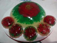 Gelatina 3d, rosa roja