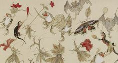 Kawanabe Kyosai, Animals and insects with autumn fruits and leaves, 1879 (source). Japanese Drawings, Japanese Artwork, Japanese Painting, Japanese Prints, Japan Illustration, Hokusai, Japan Art, Fauna, Wildlife Art