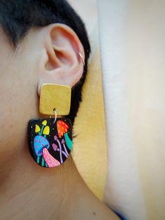 Paper Mache Mushroom Earrings/Handpainted Magic Mushroom Earrings/Post Back Dangle Mushroom Earrings/Psychedelic Neon Mushroom/Paper Jewelry Funky Earrings, Diy Earrings, Polymer Clay Earrings, Paper Beads Template, Diy Jewelry Inspiration, Paper Jewelry, Leather Jewelry, Back Jewelry, Swarovski