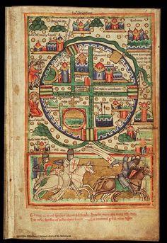 Mappa di Gerusalemme. I cavalieri crociati inseguono i saraceni. Manoscritto, 1100 ca. Koninklijke Bibliotheek, ( Biblioteca Nazionale dei Paesi Bassi)