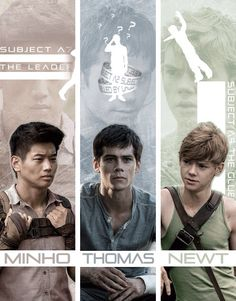 Minho / Thomas / Newt; am i the only one who sees newt jumping off the cliff in the background?? V