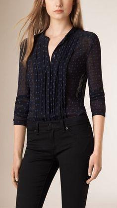 Burberry Pleat Detail Polka Dot Silk Blend Shirt - Shop for women's Shirt - Navy Shirt Denim And Lace, Casual Chique, Cool Outfits, Fashion Outfits, Batik, Burberry, Pli, Work Attire, Blouse Designs