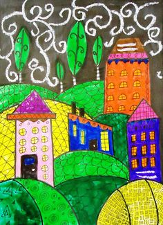Doodle Houses using sharpies, paint, and white oil pastel, could be done with crayon resist