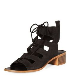 Black Leather Lace Up Ghillie Heeled Sandals