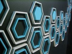 Mod Wall Art: Wallter Retro Hex (Set of 8) - i could see doing this in a stairwell or in a basement for decor.