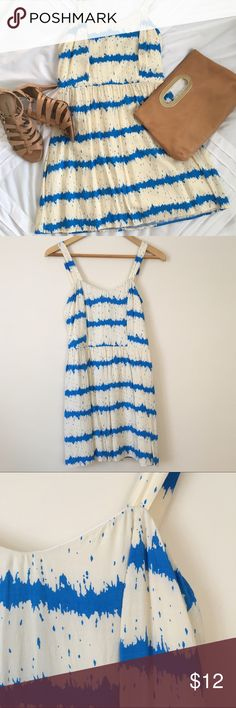 Flirty Striped Dress Blue and cream striped dress. Fully lined. In excellent condition. Dresses Mini