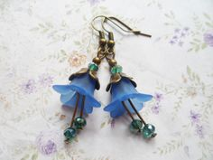 Blue bell flower earrings with turquoise Swarovski crystal beads and brass petals, bridal jewelry, Selma Dreams vintage style gifts by SelmaDreams on Etsy