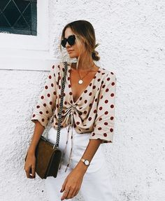 spring outfit inspiration // white jeans // polka dots // @shopriffraff