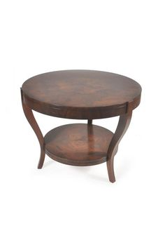 The Mayfair occasional table is shown in Walnut Root. Note the incredibly sophisticated curved legs in contrast with the solid design of the table top and skirting. Available with or without a lower shelf at foot-height.
