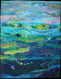 Ocean Art Quilt by evangelina. Love these artistic, gradient style quilts. Patchwork Quilting, Batik Quilts, Art Quilting, Quilt Art, Ocean Quilt, Beach Quilt, Landscape Art Quilts, Inspiration Art, Textiles