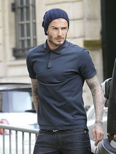 David Beckham Wearing Lanvin - Shopping With Victoria Beckham In Paris Victoria Beckham Shop, David Und Victoria Beckham, Best Polo Shirts, Custom Polo Shirts, David Beckham Photos, David Beckham Style, Tennis Shirts, Tennis Clothes, Tennis Outfits