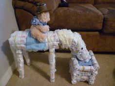 This is a Horse is made out of diapers for my sisters cowboy theme babyshower.