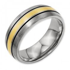Titanium Grooved 14k Gold Inlay 8mm Brushed and Antiqued Men's Wedding Band