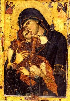 "The Panagia Glykophilousa, ""Sweet-kissing"" or ""Loving Kindness"" icon depicts the Virgin Mary caressing her son, so that they appear to be kissing. In the Byzantine representations, the Child caresses her cheek while she appears sad, seemingly contemplating his coming Passion. It is one of the icons saved from the Iconoclasts and brought miraculously to Athos."