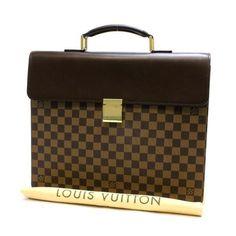 Louis Vuitton Altona PM Damier Ebene Briefcases Brown Canvas N53315