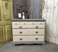 Shabby Chic Dresser, Chest of Drawers, Gray Dresser, Painted Dresser by VintageHipDecor on Etsy