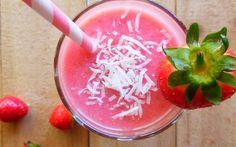 Low Sugar Recipes, No Sugar Foods, Coconut Smoothie, Smoothies, Icing, Frozen, Strawberry, Desserts, Brain